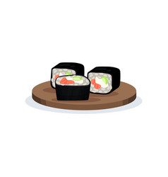 sushi rolls with nori rice and salmon vector image
