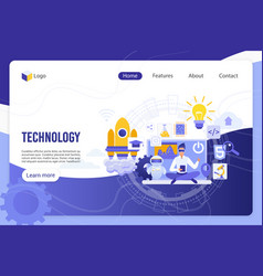 Technology digital world landing page vector