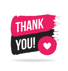 thank you handwritten inscription with brush vector image