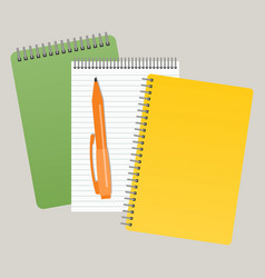 three notepads and a pen vector image
