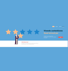 Three star rating arab man giving feedback concept vector