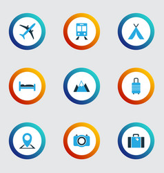Traveling colorful icons set collection of map vector