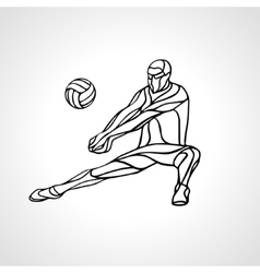 Volleyball player outline silhouette vector image