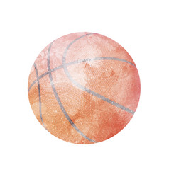 Watercolor basketball on white vector