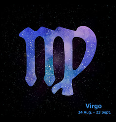 Watercolor sign of the zodiac virgo on star space vector