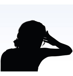 woman silhouette with hand gesture headache vector image