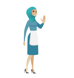 Young muslim cleaner showing palm hand vector
