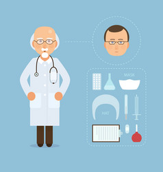 doctor and medicine tools set modern medical vector image vector image