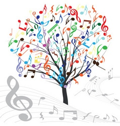 music tree vector design element vintage backgroun vector image