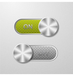 ON and OFF button on a metal background vector image vector image