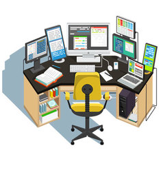 Programmer workplace vector image