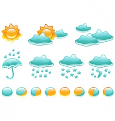 weather symbols and moon phases vector image vector image