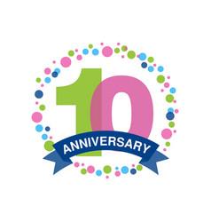 10th anniversary colored logo design happy vector image vector image
