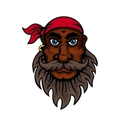 Cartoon bearded old pirate with red bandanna vector image vector image