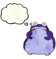 Cartoon fat frog with thought bubble vector