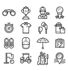 play golf outline icons vector image