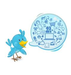 social networking media bluebird vector image vector image