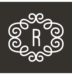 White Vintage Twirl Frame for R Letter vector image