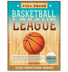 Basketball League Flyer or Poster vector image vector image