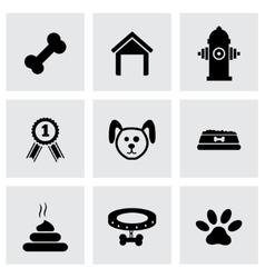 black dog icon set vector image vector image