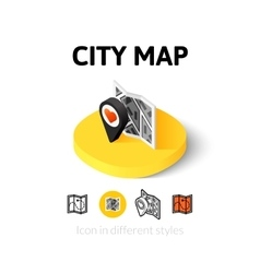 City map icon in different style vector image vector image
