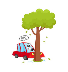 flat cartoon car crashed into tree accident vector image vector image