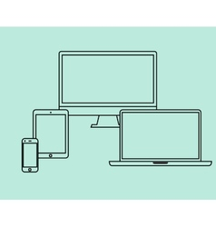 Flat design thin line icons set electronic objects vector image vector image