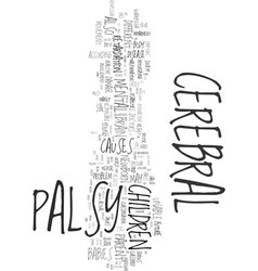 your helpful guide to cerebral palsy text word vector image vector image
