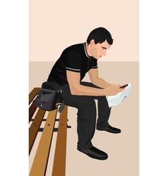 a young man with the phone Brunet vector image vector image