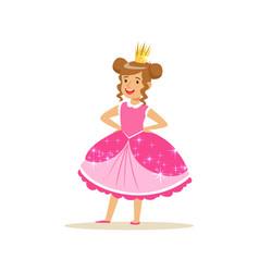beautifull little girl princess in a dark pink vector image