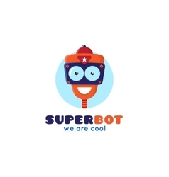 cartoon robot head logo vector image