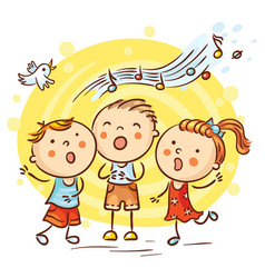children singing songs colorful cartoon vector image