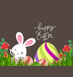 green easter eggs and bunny background vector image vector image