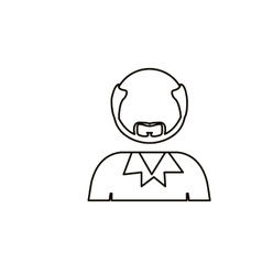 monochrome contour with half body bald man with vector image