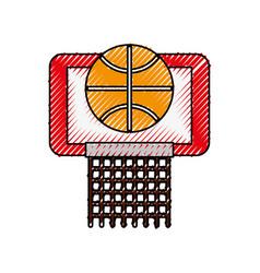 scribble basket ball in the hoop cartoon vector image vector image