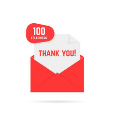 100 followers thank you card vector image