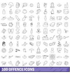 100 offence icons set outline style vector