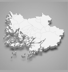 3d isometric map southwest finland is a region vector image