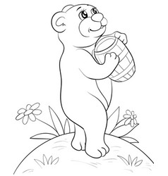 a children coloring bookpage a cute bear with vector image