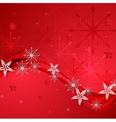 Abstract red wavy Christmas background vector image