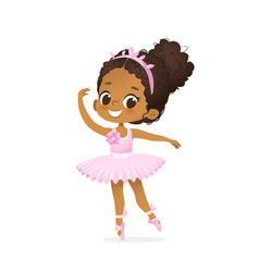 African american ballerina child dance pink tutu vector