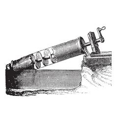 Archimedes screw vintage engraving vector image