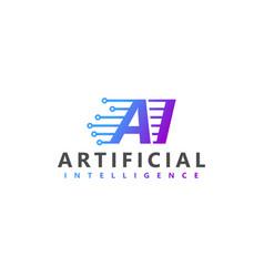 Artificial intelligence modern technology logo vector