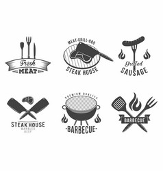 Bbq set of grill and barbecue restaurant logo vector
