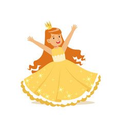 beautifull redhead little girl princess in a gold vector image