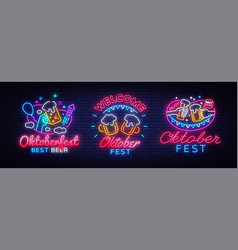 big collectin neon signs for oktoberfest beer vector image