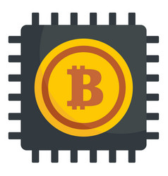 Bitcoin processor icon flat style vector