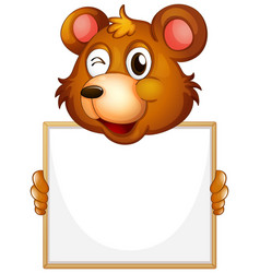 blank sign template with brown bear on white vector image