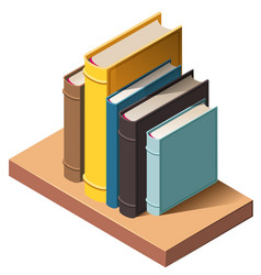 books on wall bookshelf isometric 3d icon vector image