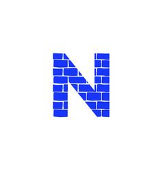 Brick logo letter n vector